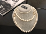 Chanel Diamond White Pearl Necklace Replica #12