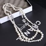 Chanel Diamond White Pearl Necklace Replica #10