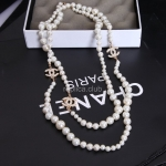 Chanel Diamond White Pearl Necklace Replica #11