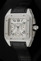 Cartier Santos 100 Chronograph Diamonds Swiss replica
