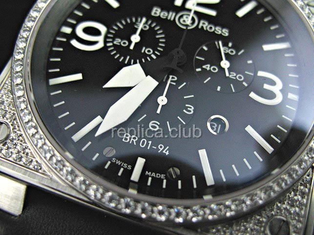 Bell et Ross Instrument BR01-94 chronographe Diamonds mouvements anormaux suisse